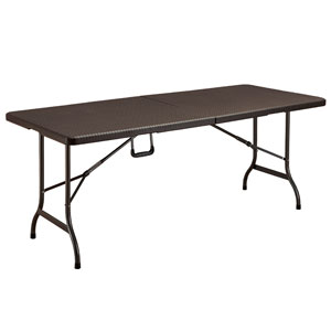 Blow Molded Folding Table   Brown