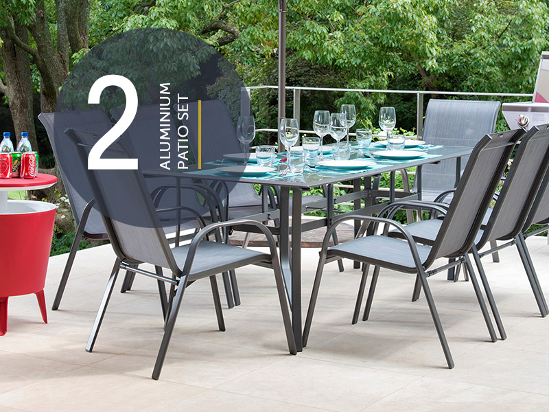 9-piece aluminium patio set